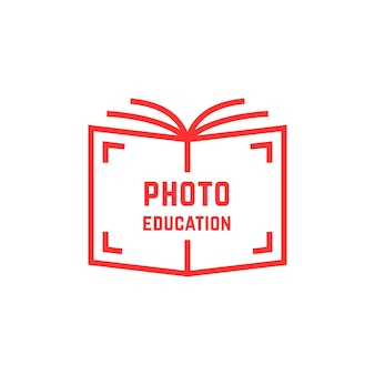 Simple photo education logo. concept of library, knowledge sale, webinar, geek, film, hobby, shutter, bookstore label. flat style trend modern brand design vector illustration on white background