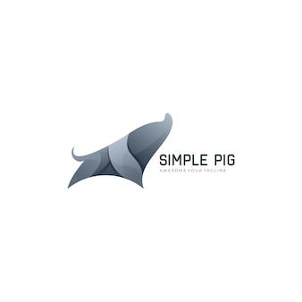 Simple pig gradient color logo template