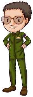 A simple pilot in green uniform