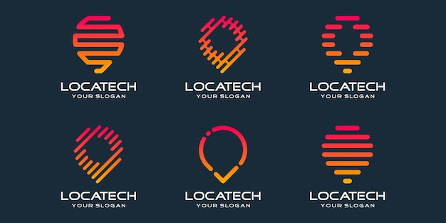 Simple pin location icon set, pin combined element digital or data. logo design template