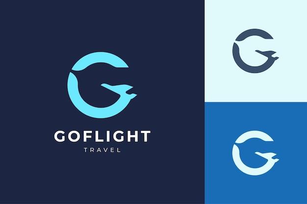 文字gの形をしたシンプルな飛行機のロゴ