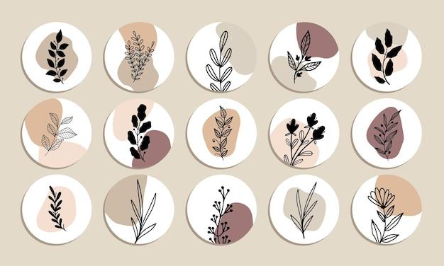 간단한 식물 추상 모양 하이라이트 커버 벡터 컬렉션