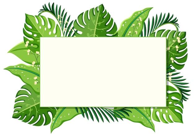 シンプルな植物と葉のフレームバナー
