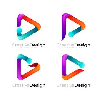간단한 플레이 로고와 문자 p 로고 조합, 3d 스타일