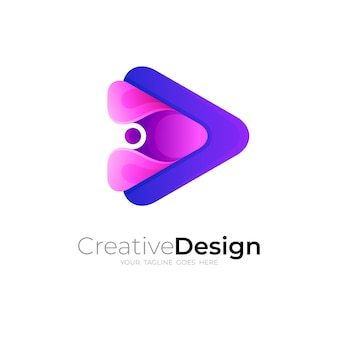 Simple play logo and letter p logo combination, 3d style