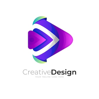 テクノロジーデザインのシンプルなプレイロゴ、3dカラフル