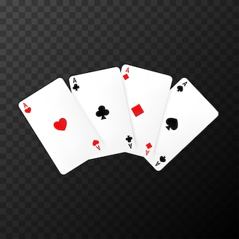 Simple poker cards on the transparent