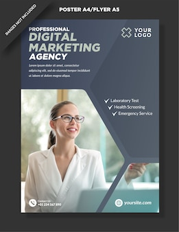 Simple poster a4 and flyer a5 digital marketing design