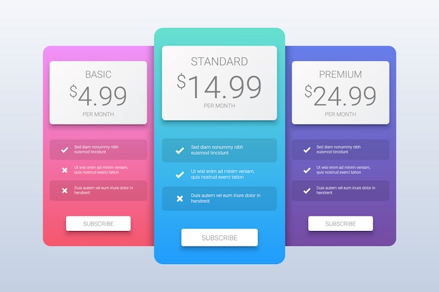 Simple pricing plans template