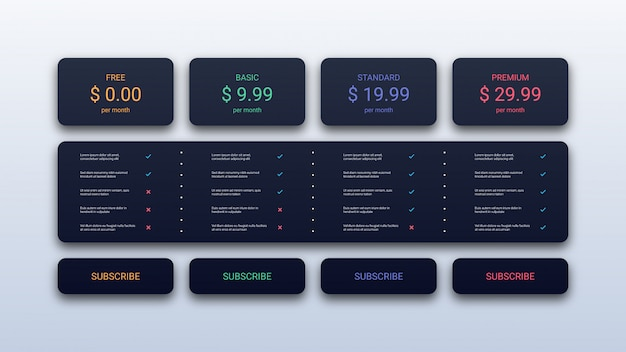 Simple pricing table template for business