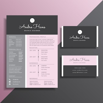 Simple professional cv resume and business card template