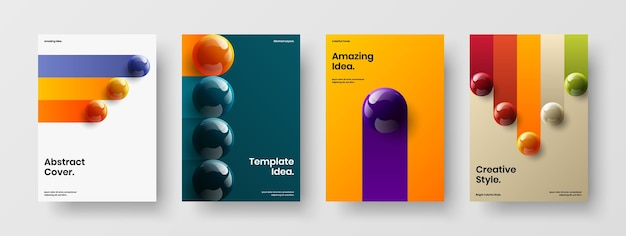 Simple realistic balls journal cover layout composition