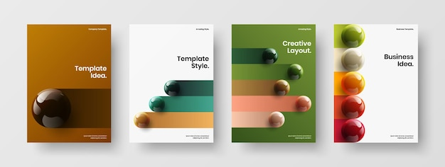 Simple realistic spheres poster layout set