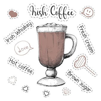 Simple recipe for an alcoholic cocktail irish coffee. vector illustration of a sketch style.