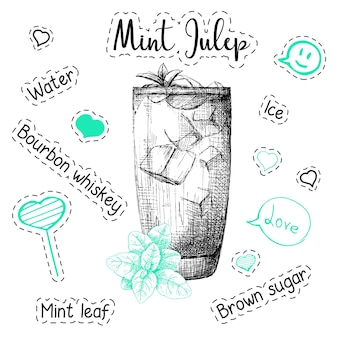 Simple recipe for an alcoholic cocktail mint julep. vector illustration of a sketch style.