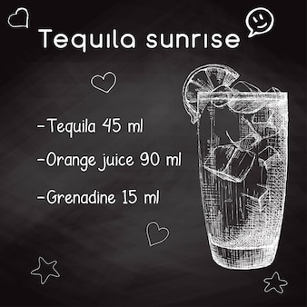 Simple recipe for an alcoholic cocktail tequila sunrise. drawing chalk on a blackboard. vector illustration of a sketch style.