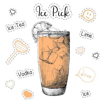 알코올 칵테일 아이스 픽을위한 간단한 레시피. 스케치 스타일의 그림입니다.