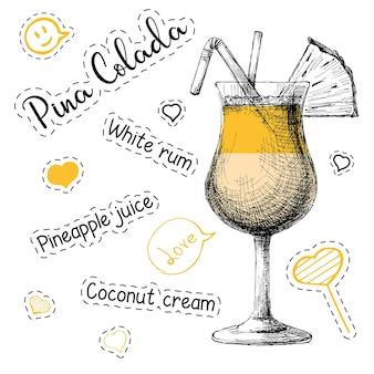 알코올 칵테일 피나 콜라다를 위한 간단한 요리법. 스케치 스타일의 벡터 일러스트 레이 션