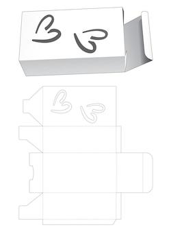 2 개의 하트 모양의 창 다이 컷 템플릿이있는 간단한 직사각형 상자