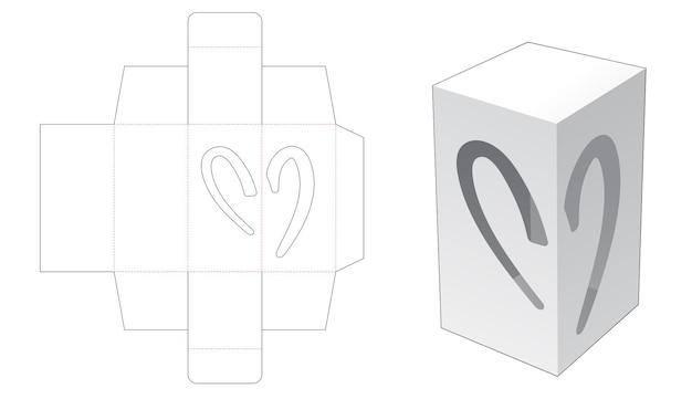 2 개의 헬프 하트 모양의 창 다이 컷 템플릿이있는 간단한 직사각형 포장 상자