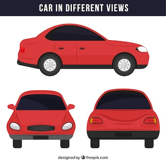 Simple red car in different views