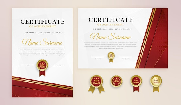 Simple red gold elegant certificate award template