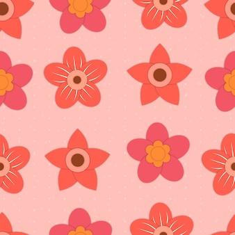 Простой красный рисованной цветок каракули бесшовный фон