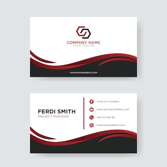 Simple red wave business card
