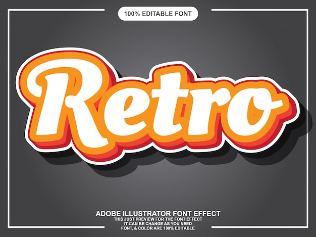 Simple retro script editable typography font effect