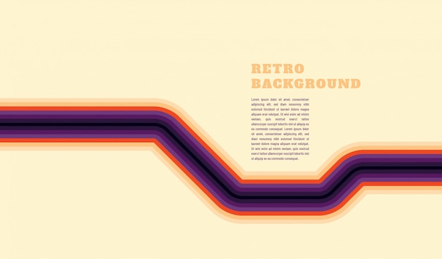 Simple retro style background design with lines and text template
