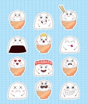 간단한 쌀 캐릭터 스티커 컬렉션