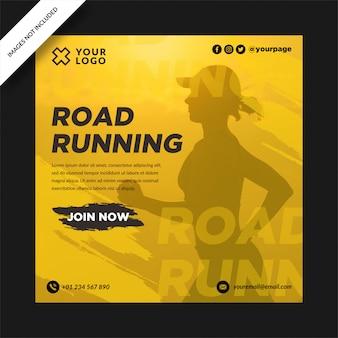 Simple road running social media post