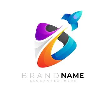 Простой ракетный логотип и игровой дизайн шаблона красочный