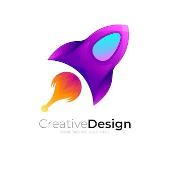 シンプルなロケットのロゴデザインベクトル、アップアイコン