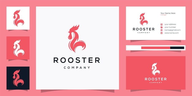Simple rooster logo designicon and business card