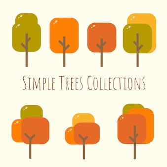 Simple rounded rectangular autumn tree