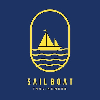 Simple sail boat logo vector illustration design