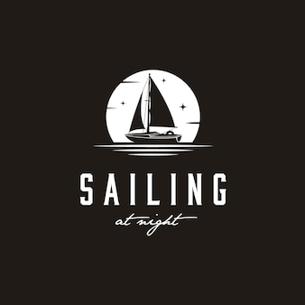 Simple sailing yacht silhouette logo design inspiration