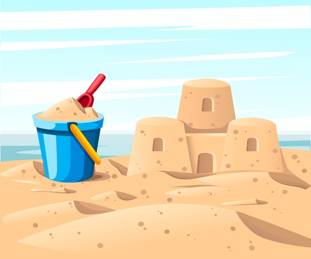 Simple sand castle with blue bucket and red shovel flat illustration