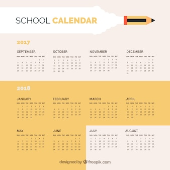 Простой школьный календарь 2017