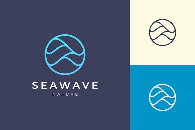 원과 물결 모양의 간단한 바다 로고 템플릿