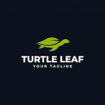 シンプルなウミガメと自然の葉エコロゴデザインテンプレート