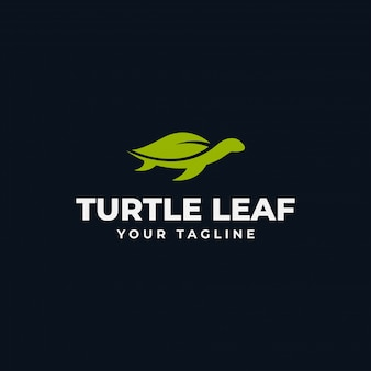 Simple sea turtle and nature leaf eco logo design template