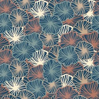 シンプルなseamlesのアウトラインの花の形のパターン。青、赤、明るい色調の輪郭を描かれた植物要素。無限の背景。