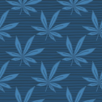 Simple seamless doodle cannabis pattern. leaves and background with strips in navy blue palette.