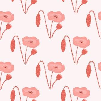 Простой бесшовные модели каракули с бледно-красными цветами мака. светло-серый фон со стилизованными ботаническими силуэтами. отлично подходит для обоев, текстиля, оберточной бумаги, тканевого принта. иллюстрация.