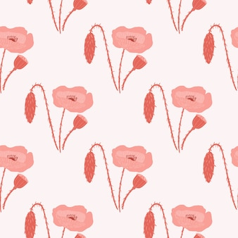 Simple seamless doodle pattern with pale red poppy flowers. light grey background with stylized botanic silhouettes. great for wallpaper, textile, wrapping paper, fabric print.  illustration.