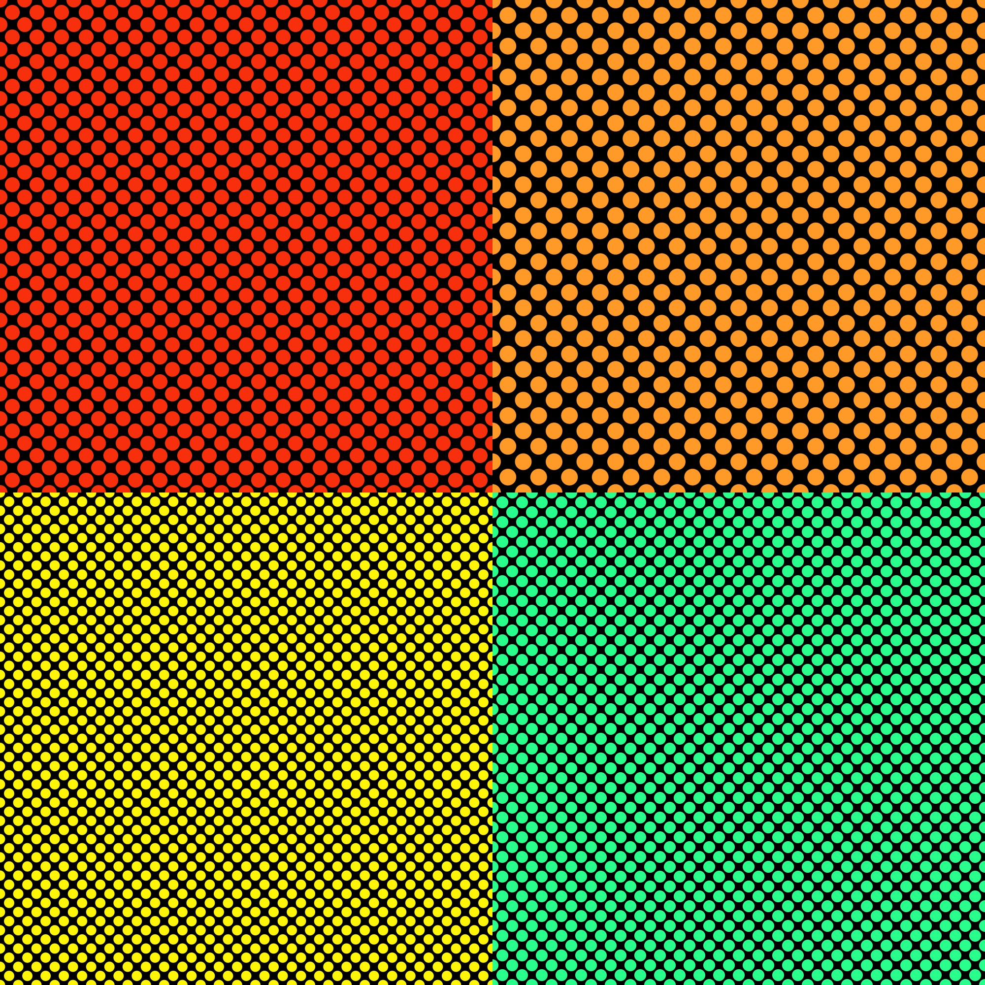 Simple seamless dot pattern background template set - graphics from colored circles