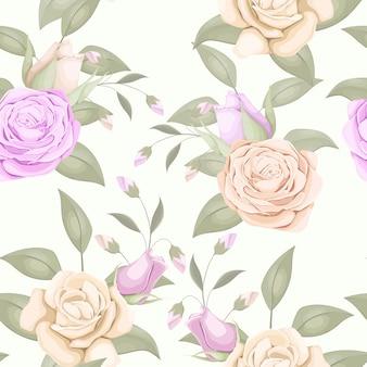 バラの花束とシンプルなシームレスパターンデザイン
