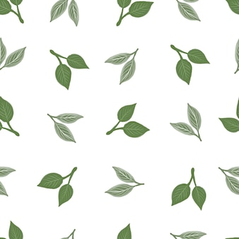 Simple seamless pattern of green leaf for fabric and background design